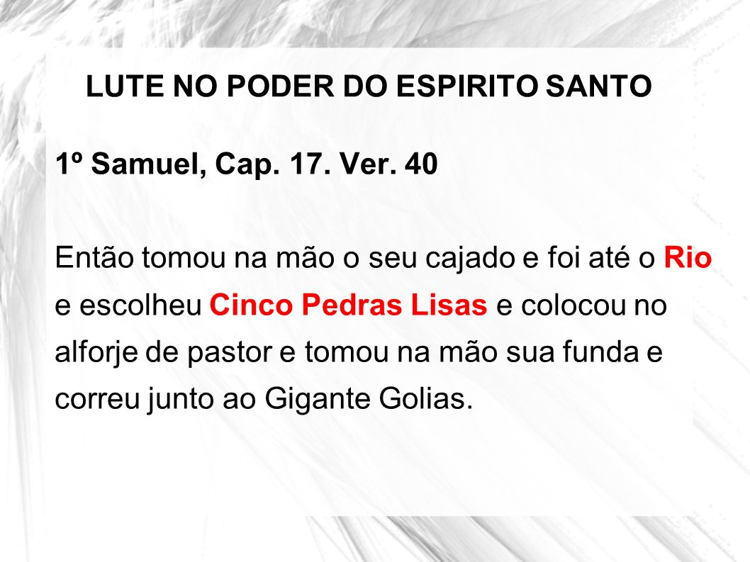 LUTE NO PODER DO ESPIRITO SANTO