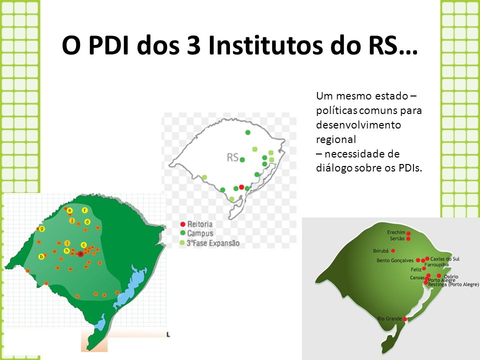 O PDI dos 3 Institutos do RS…
