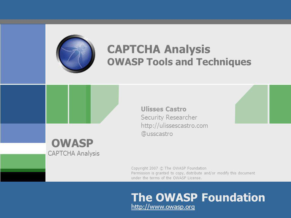 CAPTCHA Analysis OWASP Tools and Techniques