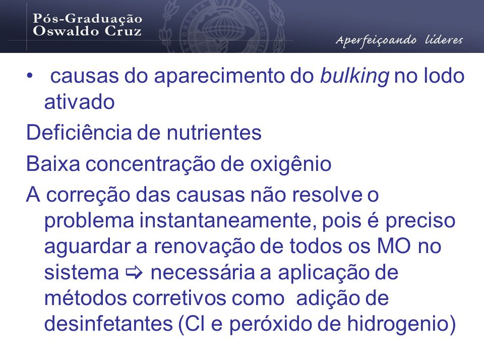 causas do aparecimento do bulking no lodo ativado