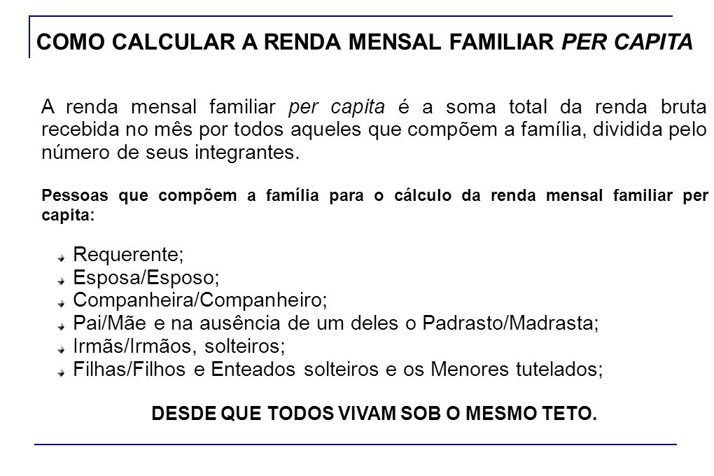 COMO CALCULAR A RENDA MENSAL FAMILIAR PER CAPITA