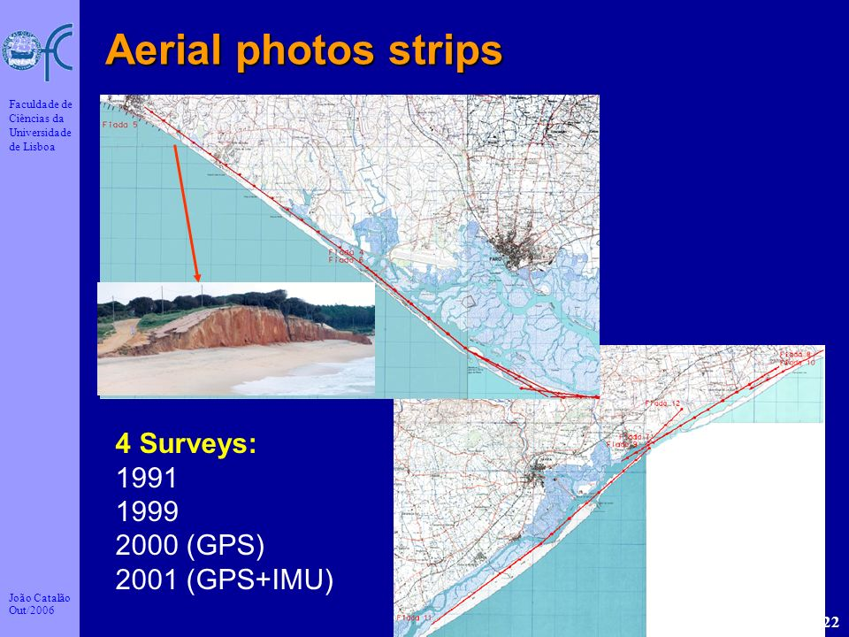 Aerial photos strips 4 Surveys: 1991 1999 2000 (GPS) 2001 (GPS+IMU)