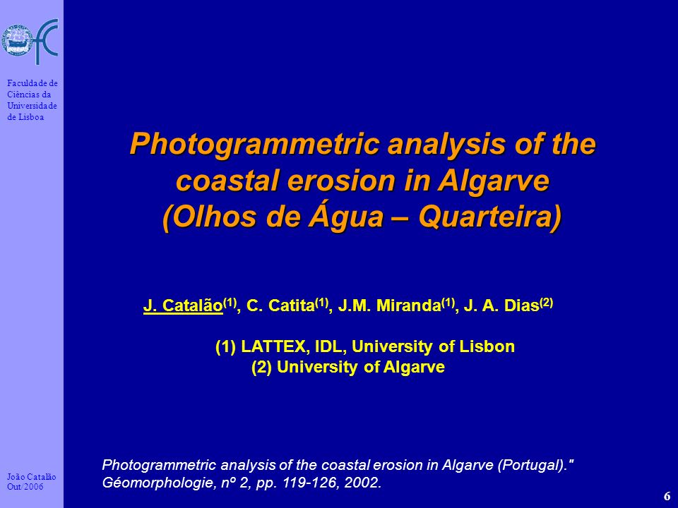 Photogrammetric analysis of the coastal erosion in Algarve