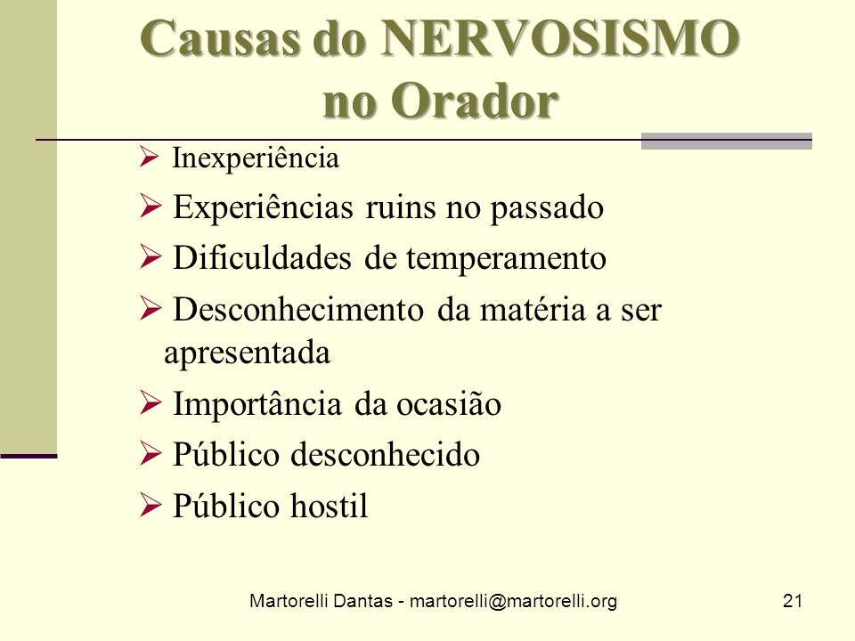 Causas do NERVOSISMO no Orador