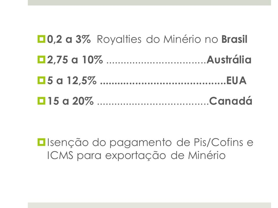 0,2 a 3% Royalties do Minério no Brasil