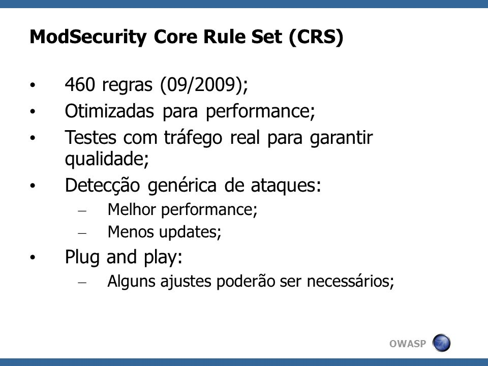 ModSecurity Core Rule Set (CRS)