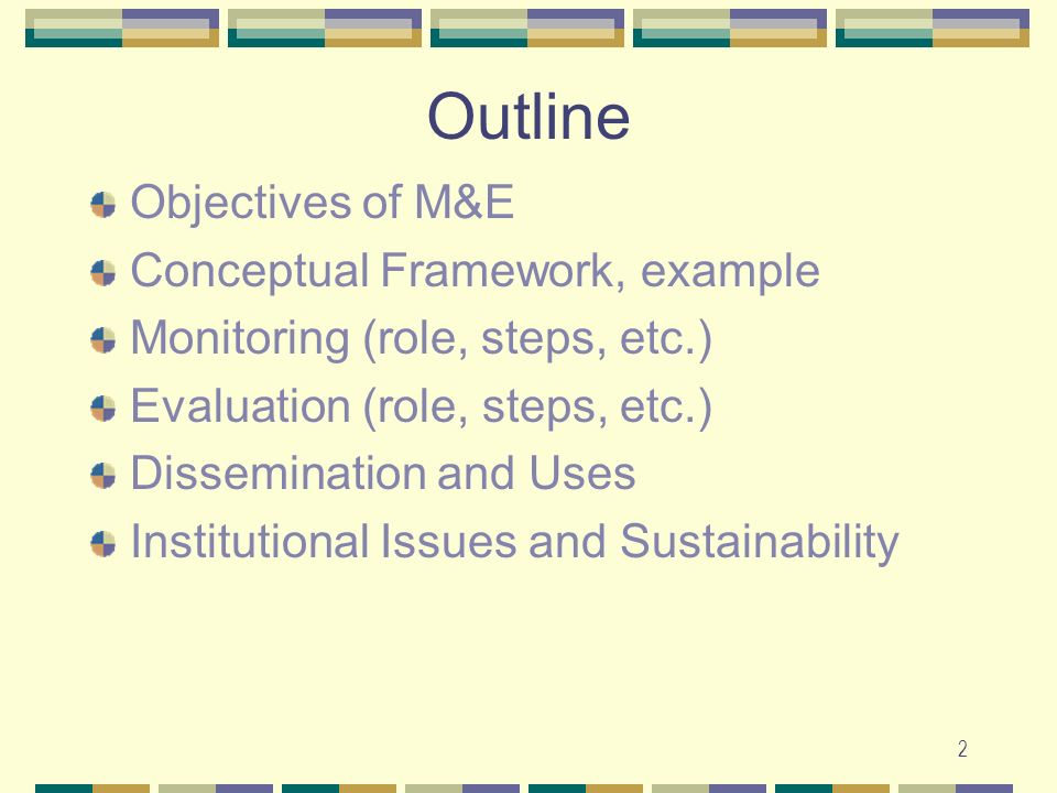 Outline Objectives of M&E Conceptual Framework, example