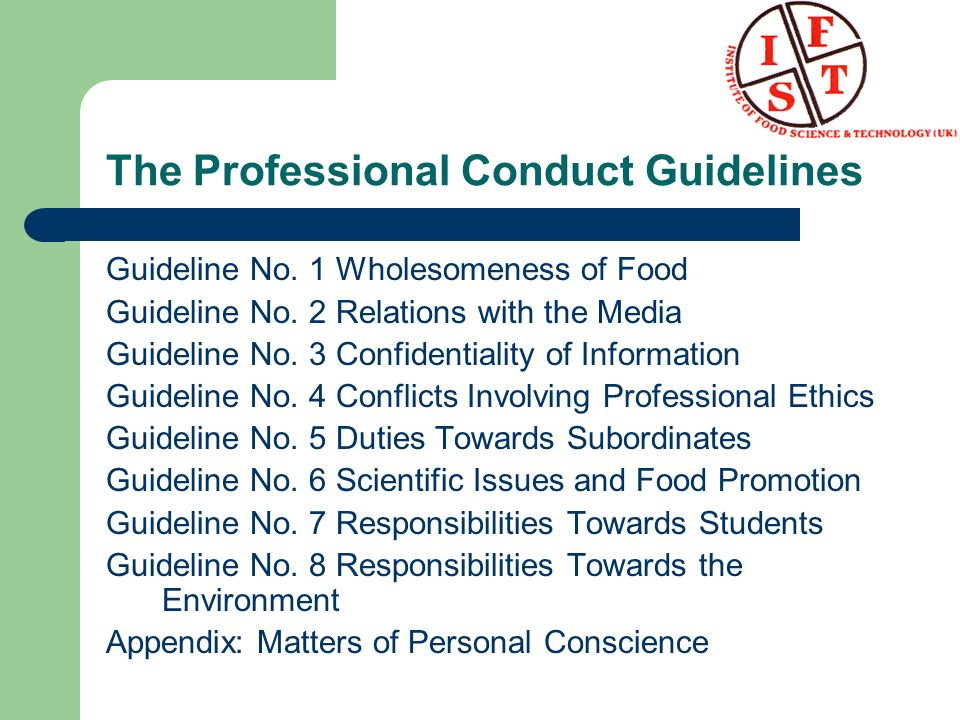 The Professional Conduct Guidelines