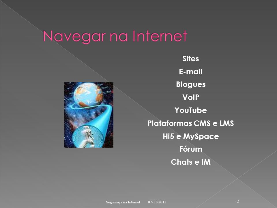 Navegar na Internet Sites  Blogues VoIP YouTube Plataformas CMS e LMS Hi5 e MySpace Fórum Chats e IM