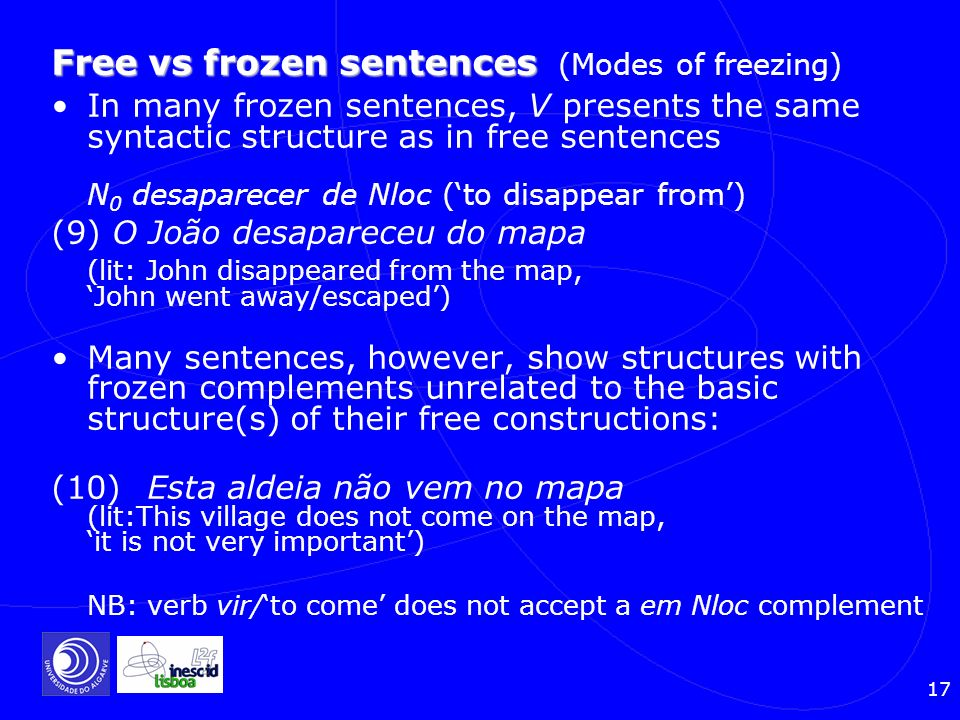 Free vs frozen sentences (Modes of freezing)