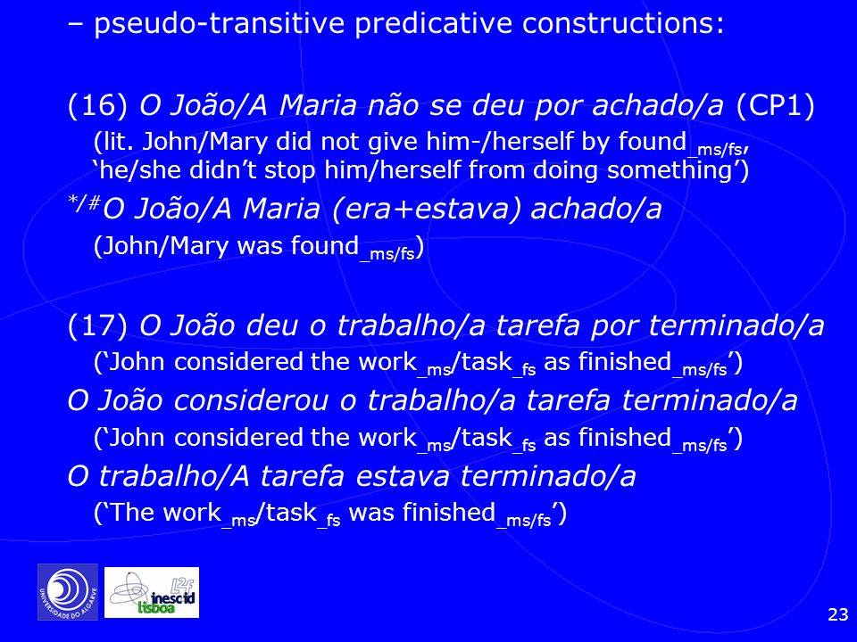 pseudo-transitive predicative constructions: