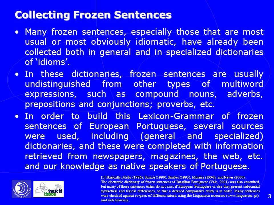 Collecting Frozen Sentences