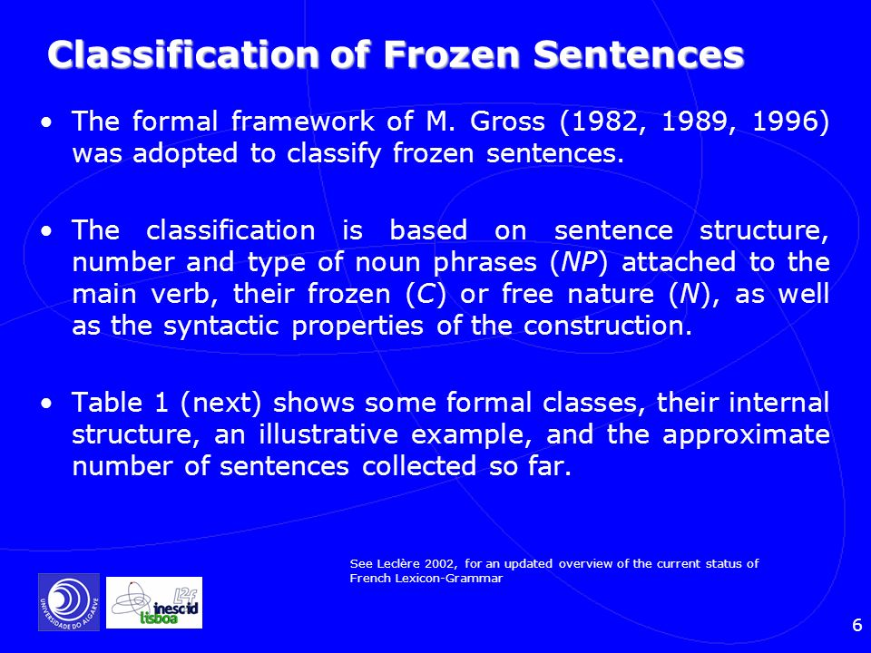 Classification of Frozen Sentences