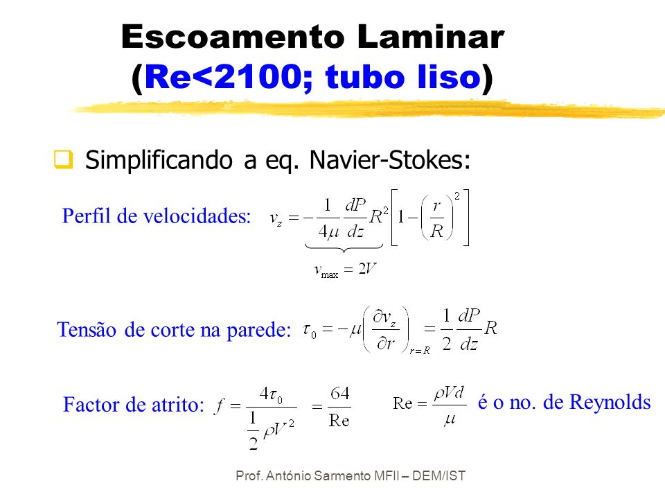Escoamento Laminar (Re<2100; tubo liso)