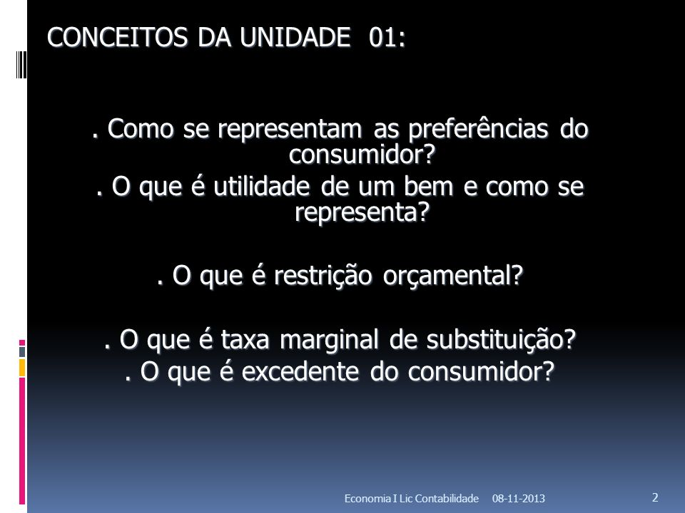 . Como se representam as preferências do consumidor