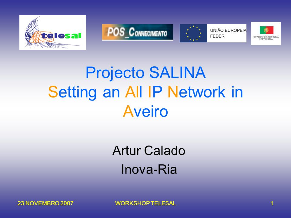Projecto SALINA Setting an All IP Network in Aveiro