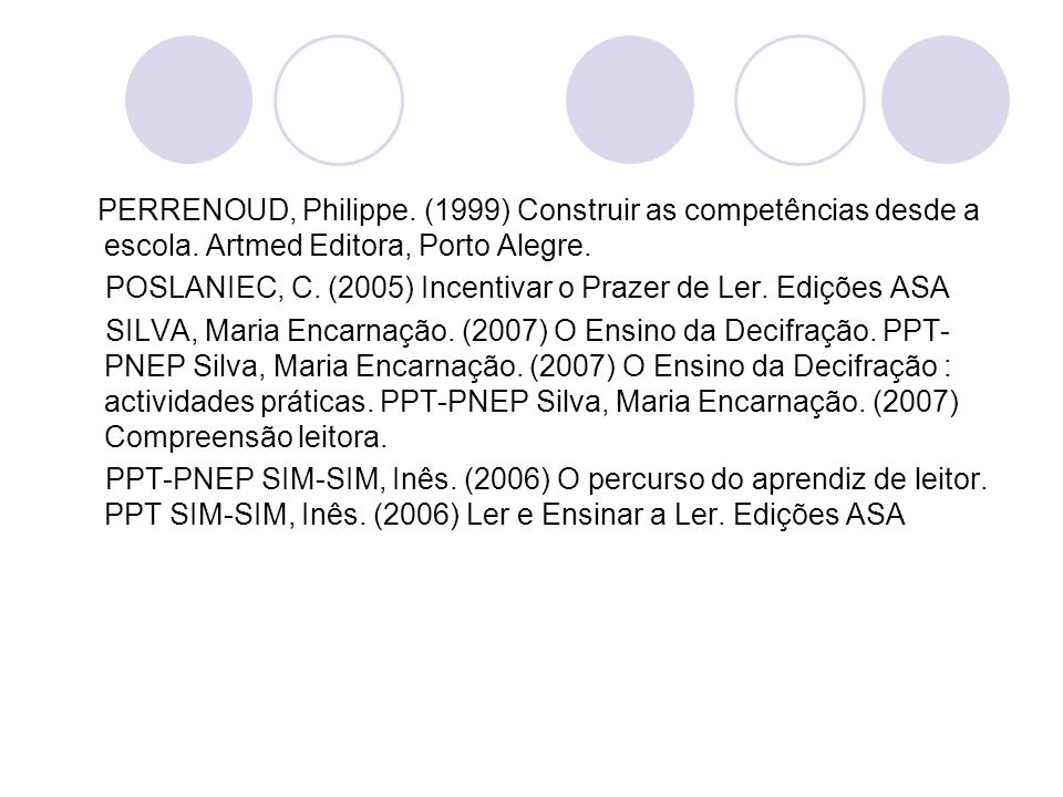 PERRENOUD, Philippe. (1999) Construir as competências desde a escola