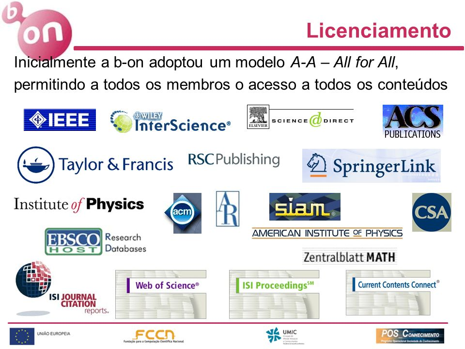 Licenciamento Inicialmente a b-on adoptou um modelo A-A – All for All,
