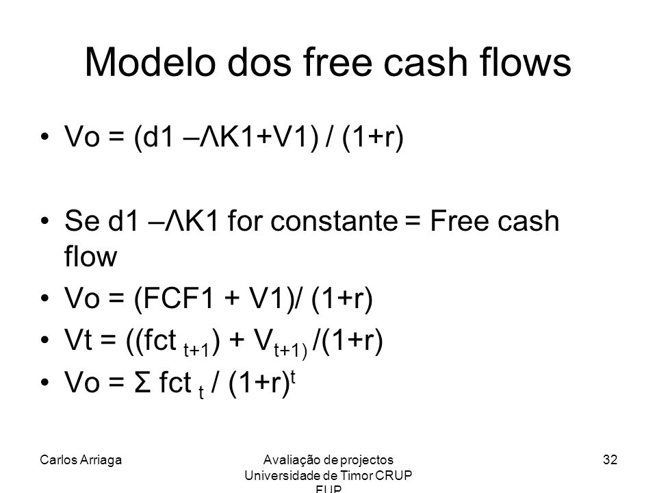 Modelo dos free cash flows