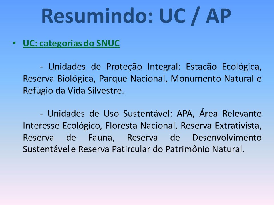 Resumindo: UC / AP UC: categorias do SNUC