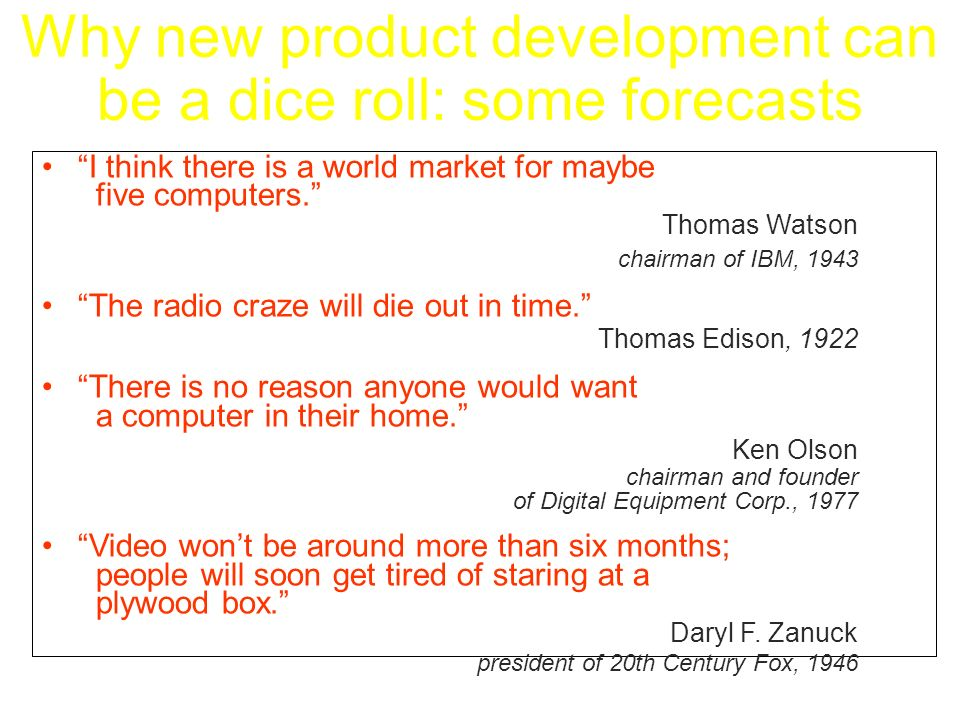 Why new product development can be a dice roll: some forecasts