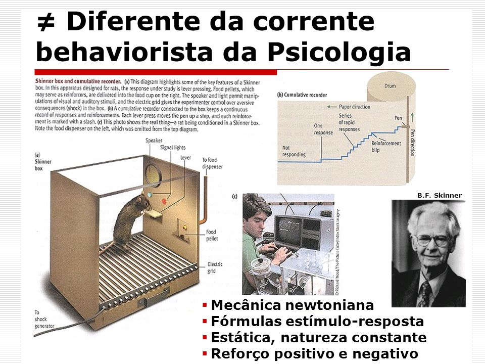 ≠ Diferente da corrente behaviorista da Psicologia