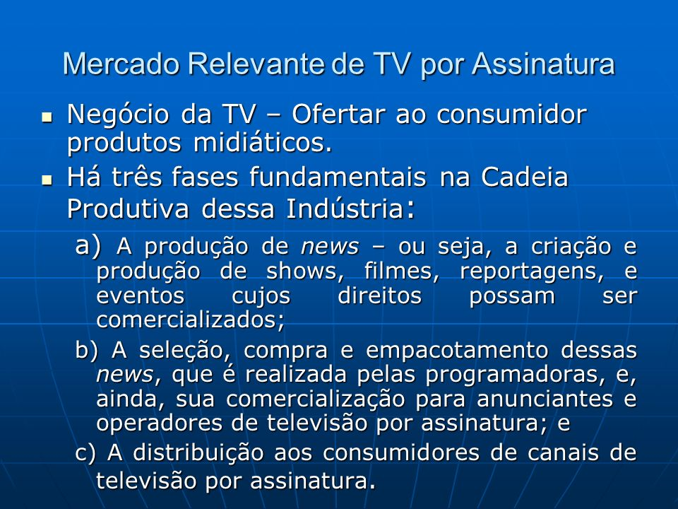 Mercado Relevante de TV por Assinatura
