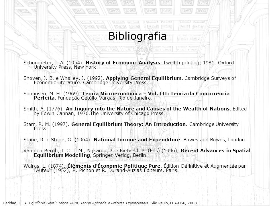 Bibliografia Schumpeter, J. A. (1954). History of Economic Analysis. Twelfth printing, 1981, Oxford University Press, New York.