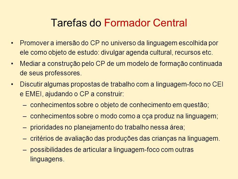 Tarefas do Formador Central