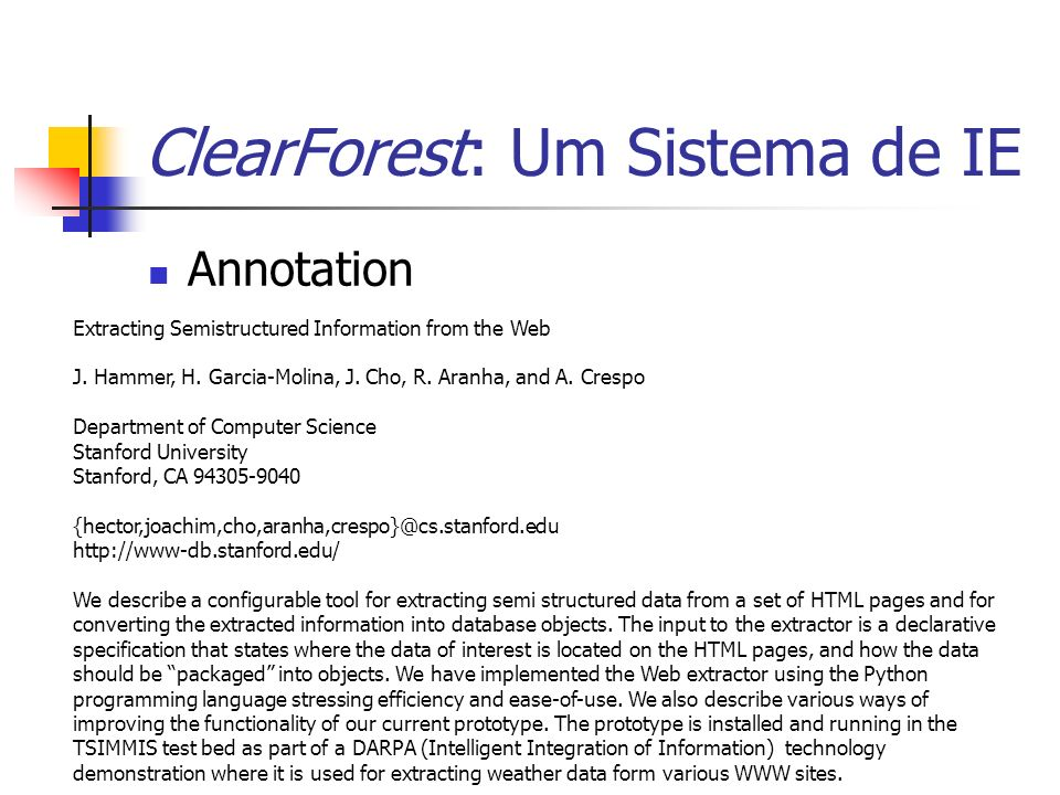 ClearForest: Um Sistema de IE