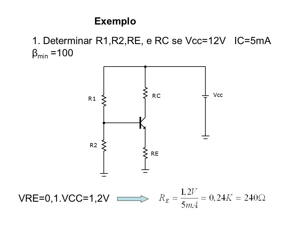 Exemplo 1. Determinar R1,R2,RE, e RC se Vcc=12V IC=5mA βmin =100 VRE=0,1.VCC=1,2V
