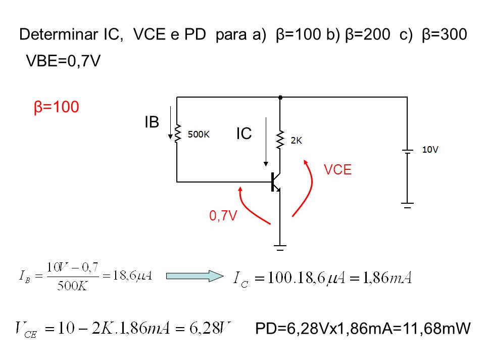 Determinar IC, VCE e PD para a) β=100 b) β=200 c) β=300