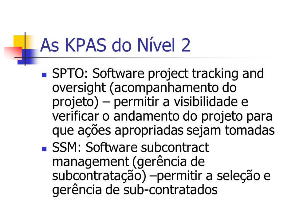 As KPAS do Nível 2