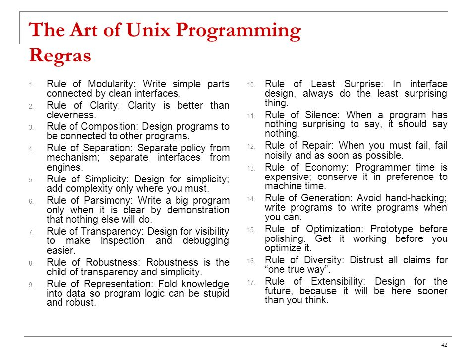 The Art of Unix Programming Regras