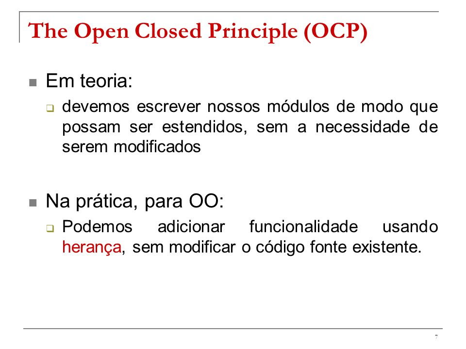 The Open Closed Principle (OCP)