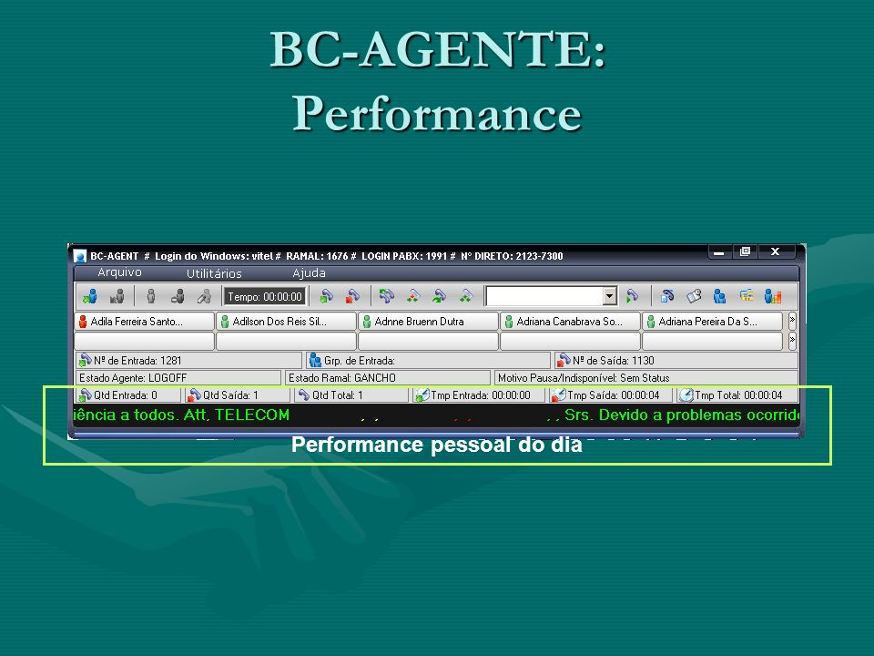 BC-AGENTE: Performance