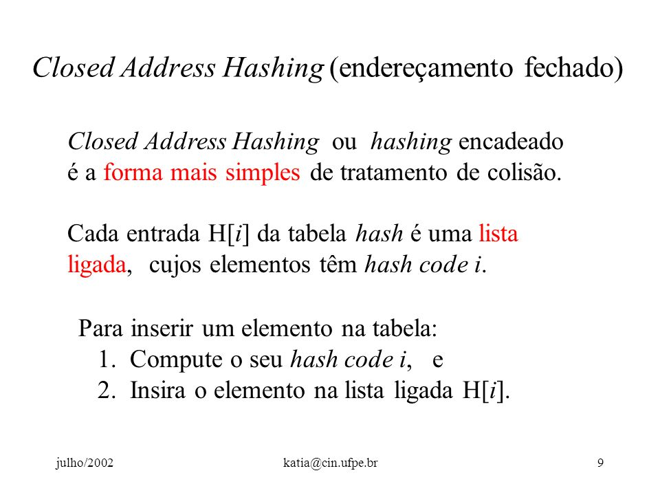 Closed Address Hashing (endereçamento fechado)