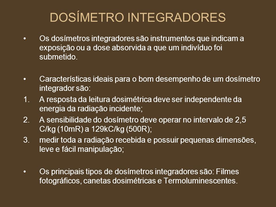 DOSÍMETRO INTEGRADORES