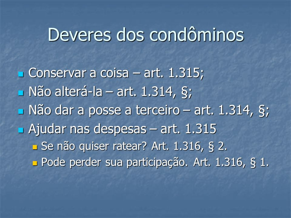 Deveres dos condôminos