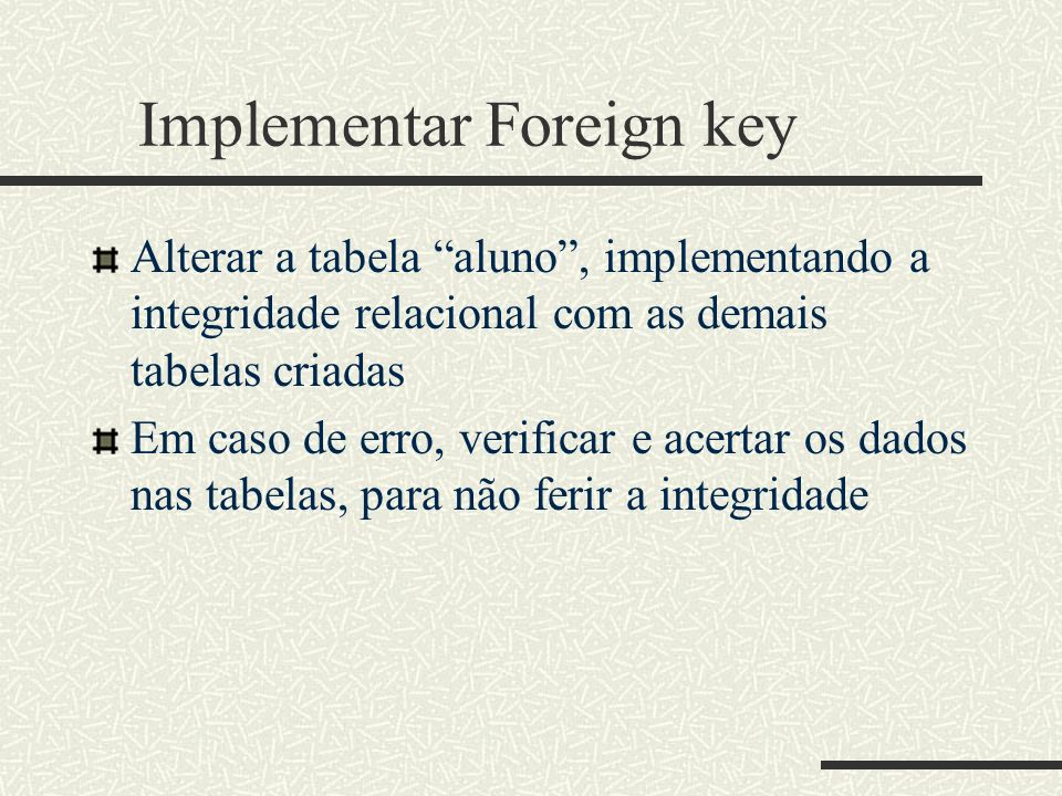 Implementar Foreign key