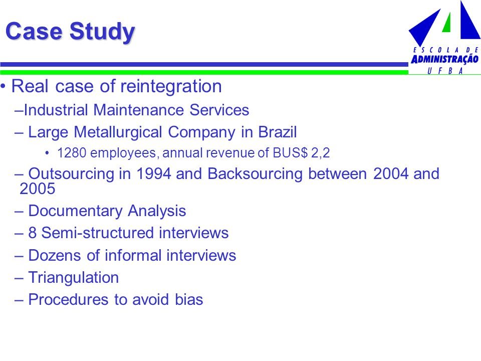 Case Study Real case of reintegration Industrial Maintenance Services