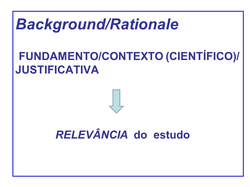 Background/Rationale FUNDAMENTO/CONTEXTO (CIENTÍFICO)/ JUSTIFICATIVA