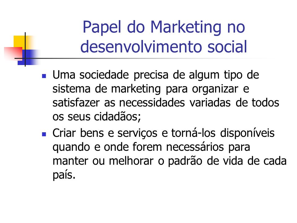Papel do Marketing no desenvolvimento social