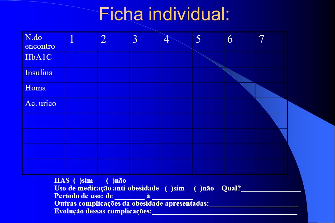 Ficha individual: 1 2 3 4 5 6 7 N.do encontro HbA1C Insulina Homa