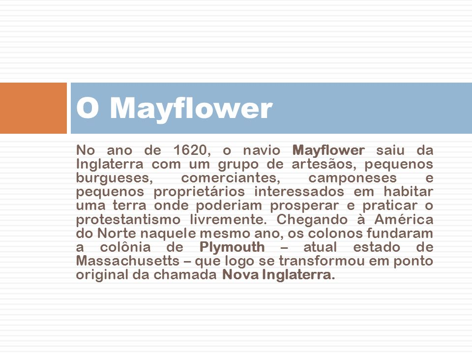 O Mayflower