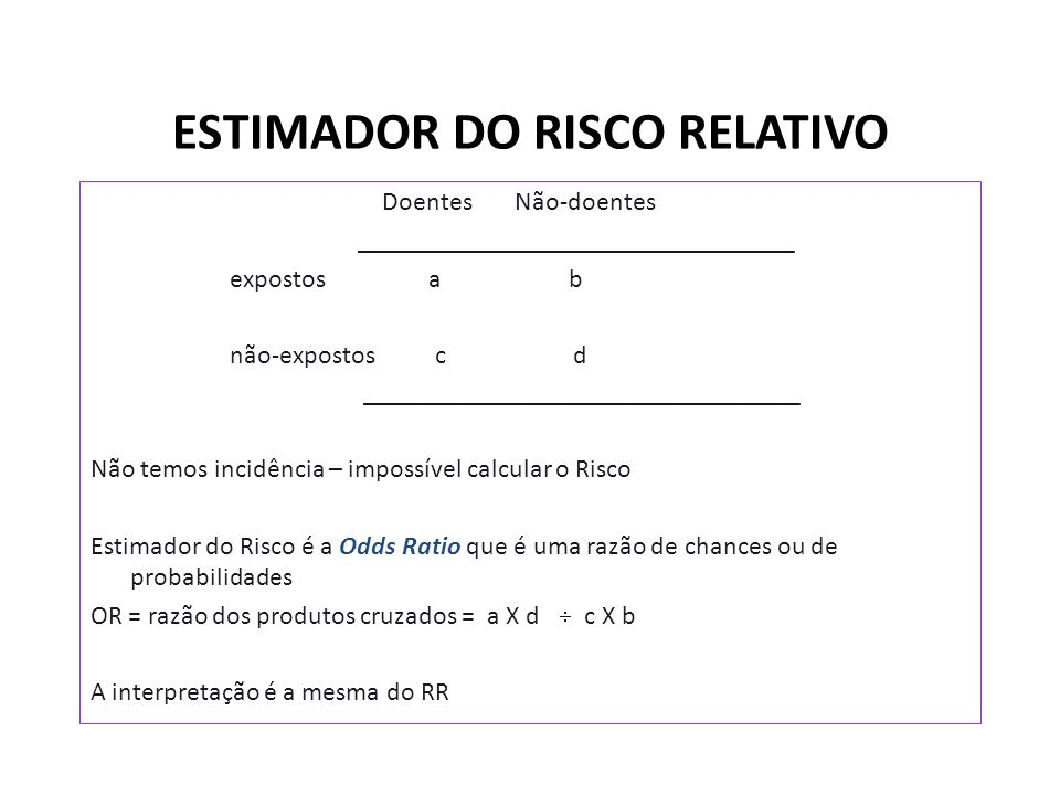 ESTIMADOR DO RISCO RELATIVO