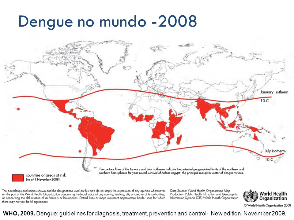 Dengue no mundo -2008 WHO, 2009.