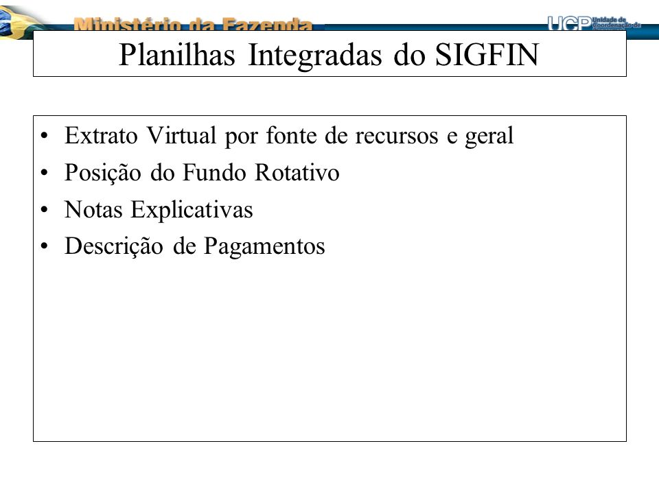 Planilhas Integradas do SIGFIN