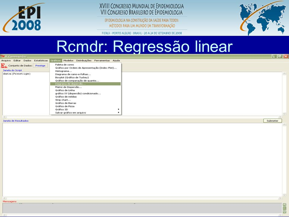 Rcmdr: Regressão linear