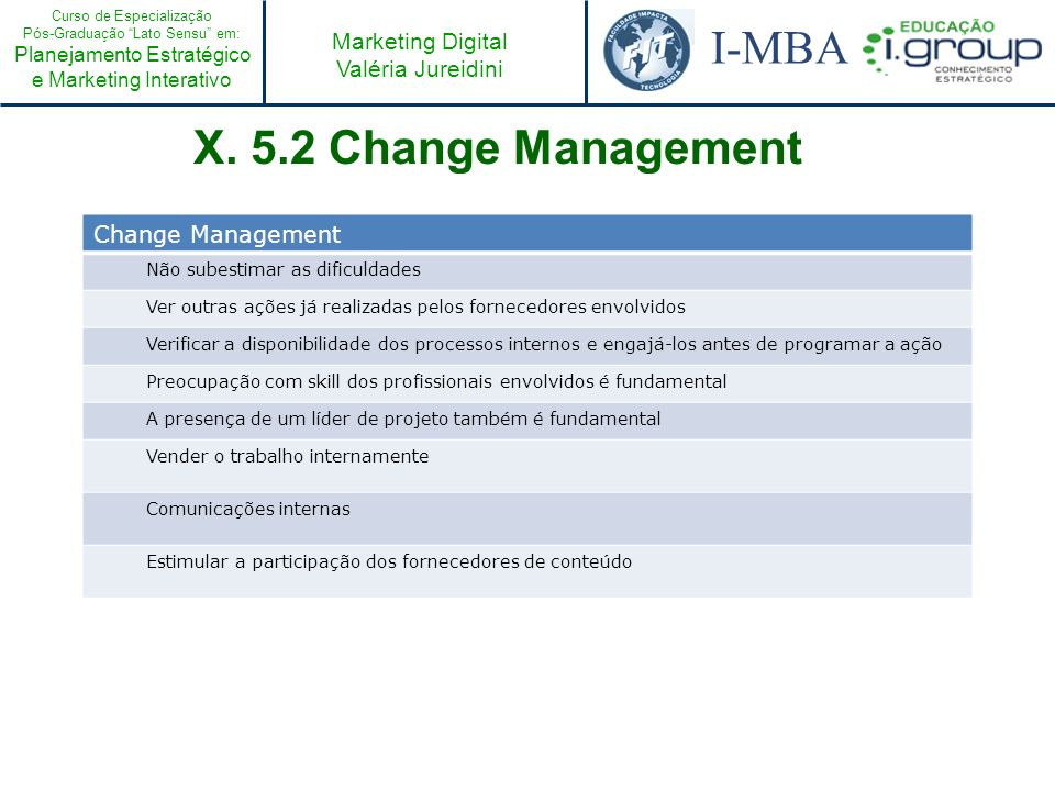 X. 5.2 Change Management Change Management